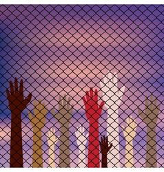 Hands behind a wire fence vector