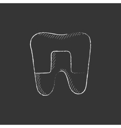 Crowned tooth drawn in chalk icon vector