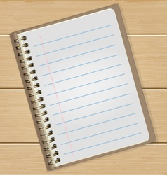 Blank notebook on wooden table business concept vector