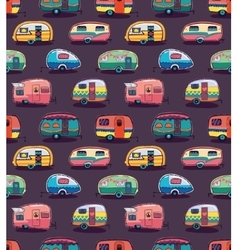 Mid fifties cartoonish campers pattern vector