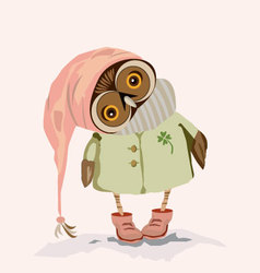 an owl with big eyes vector image