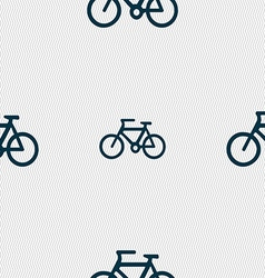 Bicycle icon sign Seamless pattern with geometric vector image vector image