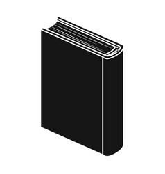Blue standing book icon in black style isolated on vector