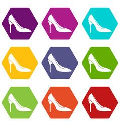 Bride shoes icon set color hexahedron vector