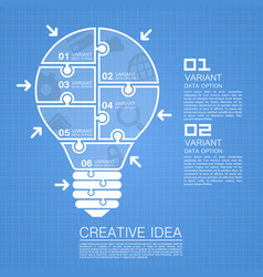 Bulb idea of working with puzzles vector