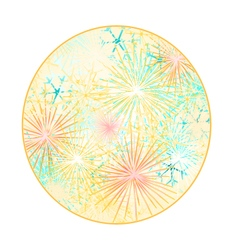 Button circle new year fireworks colored vector
