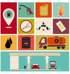 Collection of fuel station icons vector