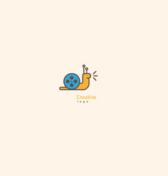 Creative logo with double meaning snail and video vector