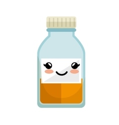 Cute kawaii medicine bottle icon vector