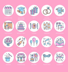 Event agency wedding organization line icon vector