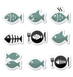 Fish fish on plate skeleton icons vector