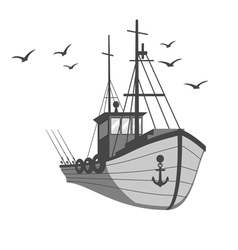 Fishing ship vector