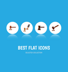 flat icon hammer set of defense justice crime vector image