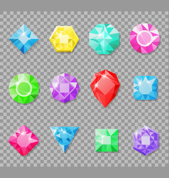 gems isolated on a transparent background vector image vector image
