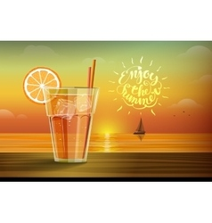 Glass with lemonad at sunset vector image