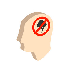 Head with storming cloud stress concept symbol vector