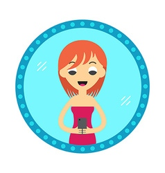Hipster style woman or girl take a selfie in the vector image