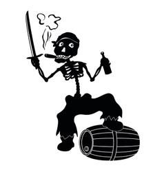 Jolly Roger skeleton black silhouettes vector image