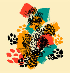 leopard exotic wild cat pattern vector image