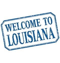 Louisiana - welcome blue vintage isolated label vector