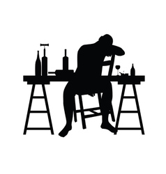 Man siting and drink alcohol silhouette vector
