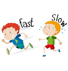 Opposite adjectives fast and slow vector image vector image