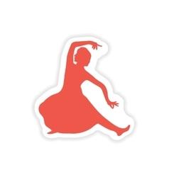 Paper sticker indian dancer on white background vector
