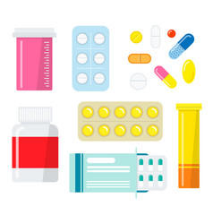 pills and capsules set vector image vector image
