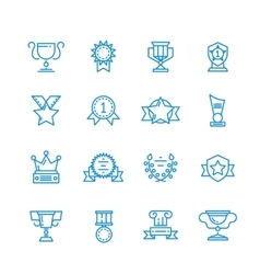 Prizes trophy awards outline icons vector image