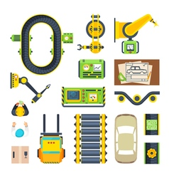 Production Line Elements Icon Set vector image vector image