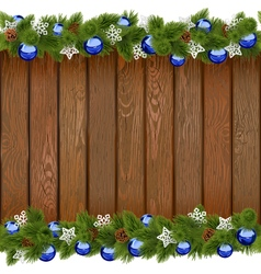 Seamless Christmas Board with Blue Balls vector image vector image