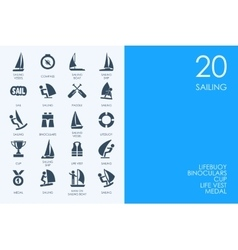 Set of blue hamster library sailing icons vector