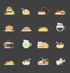 Set of breakfast icons in flat style vector