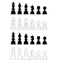 Set of different chess pieces vector