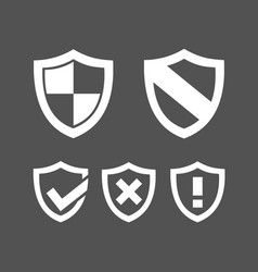 set of protection shield icons on a dark vector image vector image