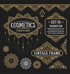 set of retro vintage graphic design vector image