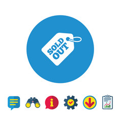 Sold out tag icon shopping message sign vector