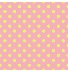 Tile pattern green polka dots on pink background vector image