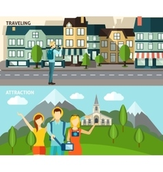 Tourism travelling horizontal flat banners set vector