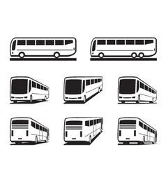 Tourist buses and coaches vector