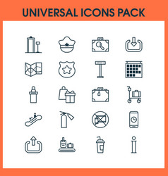 traveling icons set collection of pilot hat vector image