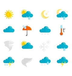 Weather Icons Flat Set vector image