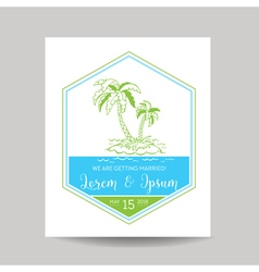 Wedding invitation card - save the date - tropical vector