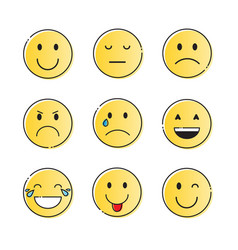 Yellow smiling cartoon face people emotion icon vector