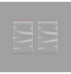 Set of sealed transparent plastic zipper bags vector