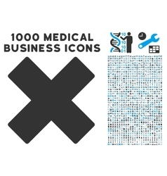 Delete X-Cross Icon with 1000 Medical Business vector image