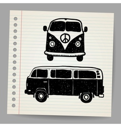 Retro tropical happy hippie micro surfboard bus vector
