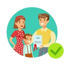 Smiling family holding insurance contract vector