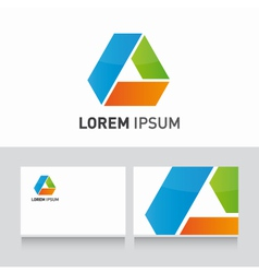 business card company template with logo design vector image