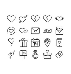 icons valentines with thin vector image